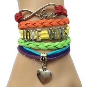 LOVE WINS SUEDE VELVET LEATHER RAINBOW BRACELET 🌈